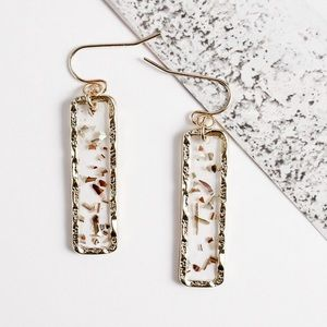 Gold Rectangle Earrings w/Metallic Flecks